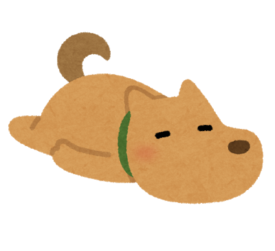 ごろごろする犬